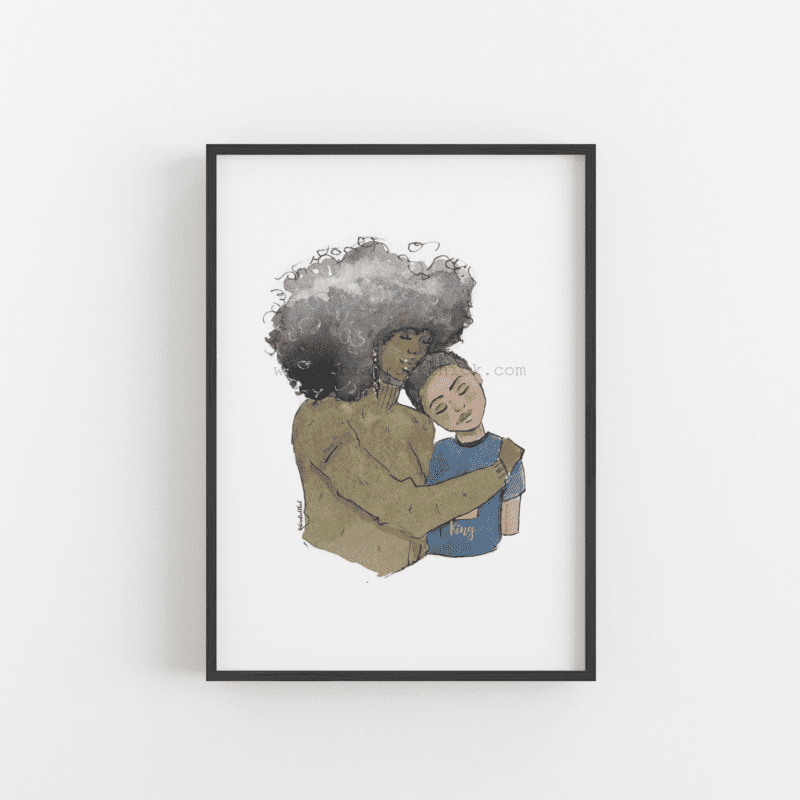 afro mother and son art print