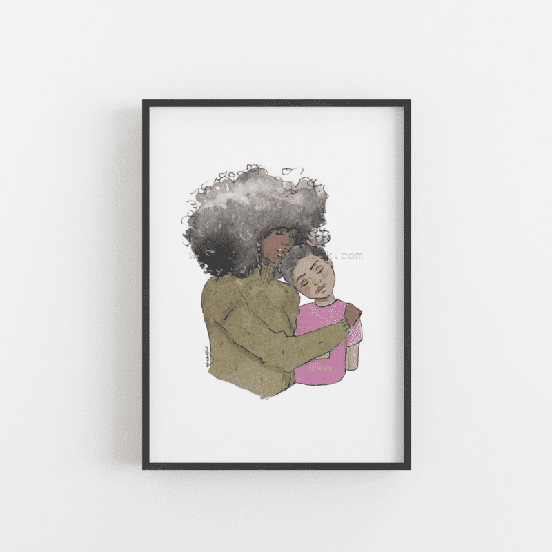 afro mother and daughter art print