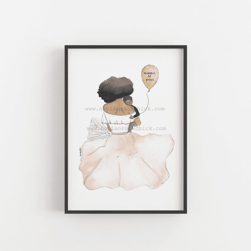 mummy and boy art print
