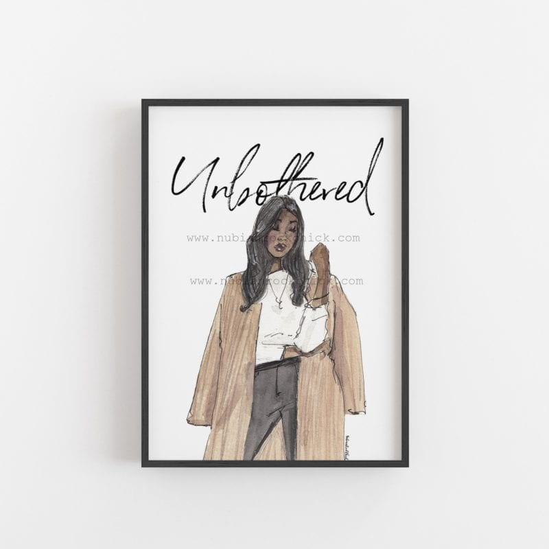 unbothered text framed