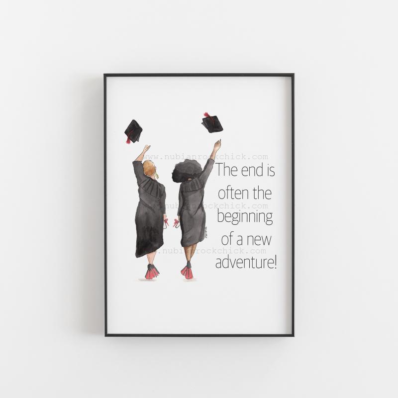 Black girl graduating art print